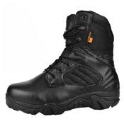 Tactical Black Boots with Side Zipper