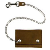 Tri-Fold Wallet with Chain - Mid-Size - Brown