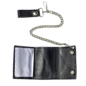 Tri-Fold Wallet with Chain Mud Flap Girl - Black