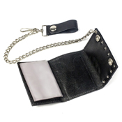 Tri-Fold Studded Wallet with Chain - Black