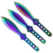 3 Piece Set Rainbow Silver Wing 6.5 Inch Throwing Knife