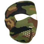 Neoprene Woodland Camo to Orange Reversible Face Mask - Wholesale
